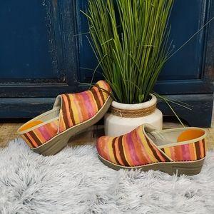 Dansko watercolor striped clogs